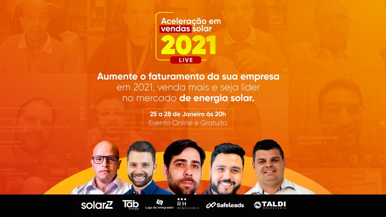 """""""Aceleração em vendas solar 2021"""" é o tema da semana de lives de janeiro da SolarZ"""